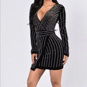 Fashion Nova Black Velvet Sparkly Short Dress